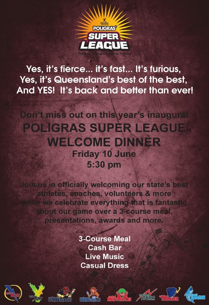 Poligras Super League Welcome Dinner 2016 - Friday 10 June at 5:30pm.