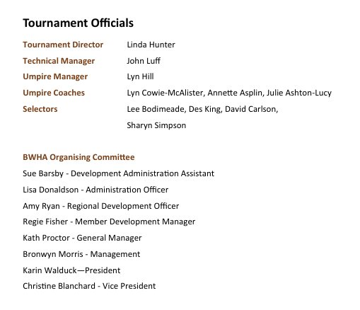 Tournament Officials ...